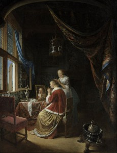Gerrit Dou: A young woman at her toilet, 1667,